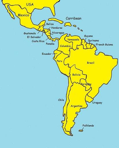 Central And South America Political Map America Map